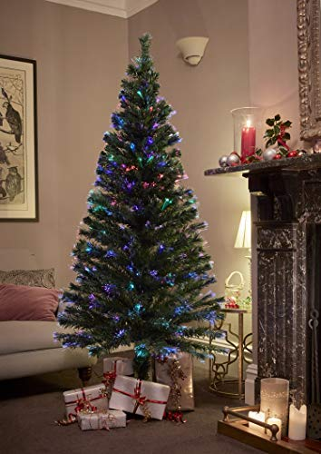 Jaymark Products 8ft/240cm Classic Green Optic Fibre Christmas Tree Pre Lit LED Lights – Indoor Use