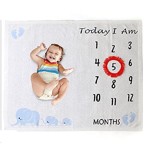 MCKEYEN Manta de Punto de hito mensual para bebé Neutro de Punto, Regalo de recién Nacido de algodón Puro Suave, Accesorio de Fondo de fotografía para niño y niña con Guirnalda (100x110cm)
