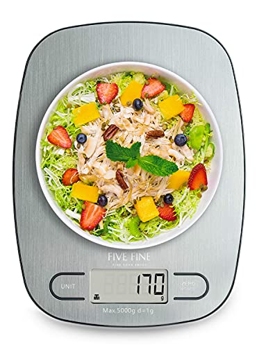 FiveFine Báscula de Cocina, Báscula Digital para Cocina de Acero Inoxidable,Balanza Cocina de Alta Precisión 5 kg/ 11 lbs, Peso Cocina con Pantalla LCD, Multifuncional, Color Plata, Baterías Incluidas