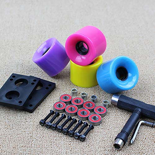 Ti-Fa 4 Pieces Skateboard Wheels, Flash Wheel Soft Wheel Road Wheel Damping Grinding Wheel with Professional Skateboard Rapid Bearings Suitable For: Double Rocker, Small Fish Board,Multi colored