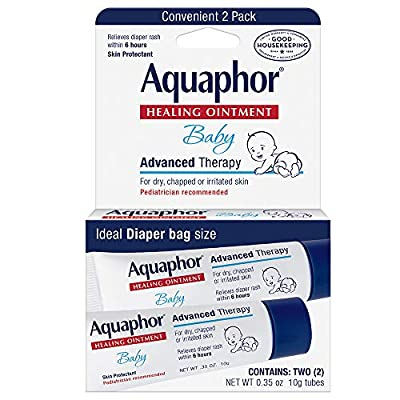 Aquaphor Baby Healing Ointment To-Go Pack - Advanced Therapy for Chapped Cheeks and Diaper Rash - Fragrance Free, 0.7 Ounce, 2 Count from Aquaphor