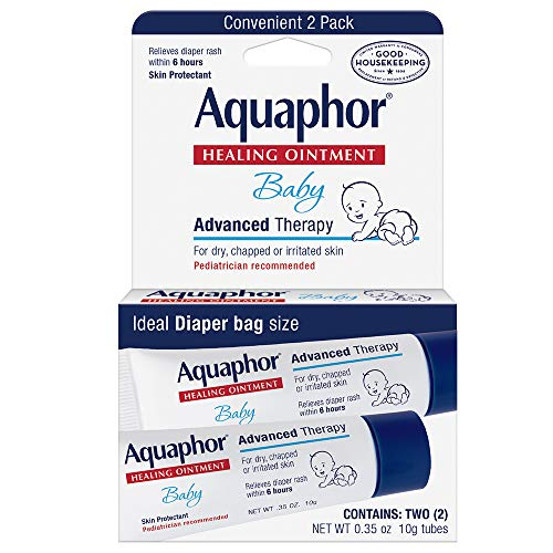 Aquaphor Baby Healing Ointment To-Go Pack - Advanced Therapy for Chapped Cheeks and Diaper Rash - Fragrance Free, 0.7 Ounce, 2 Count