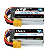 HRB 2PCS 3S 11.1V 1500mAh 100C Lipo Battery with XT60 Plug for RC Helicopter Airplane Car Boat Truck