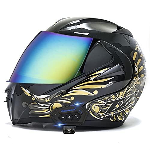 LIRONGXILY Casco Moto Modular Casco Moto Jet Bluetooth Integrado Casco Integral Casco Moto Abierto con Doble Visera para Hombre o Mujer ECE Homologado (Color : E, Size : 59-60(L))