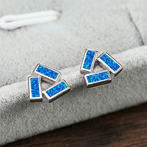 N\C Pendientes para Mujer - Pendientes De Ópalo Cuadrados Azules Femeninos Simples De Plata 925 Pendientes De Color Plateado De Oro Rosa Pendientes Triangulares Pequeños para Mujeres, Azul Plateado