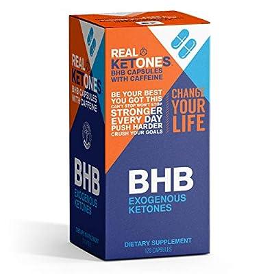 Real Ketones™- Keto Pills - BHB Exogenous Ketones- 120 Capsules with Caffeine- Energy, Focus and Ketosis in 1 Hour.