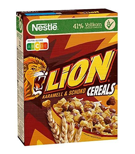 Nestlé LION Cereals Schoko Cerealien mit Karamell und 41% Vollkorn, Frühstücksflocken mit Vitaminen und Mineralstoffen, 1er Pack (1 x 400g)