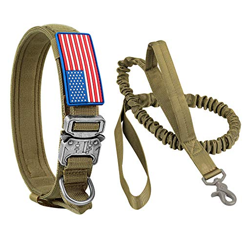 Tactical Dog Collar and Bungee Leash, Military Dog Collar & Leash Set with USA American Flag Coyote Brown Adjustable K9 Collar with Heavy Duty Metal Buckle & Handle for Medium Large Dogs(XL,Brown)