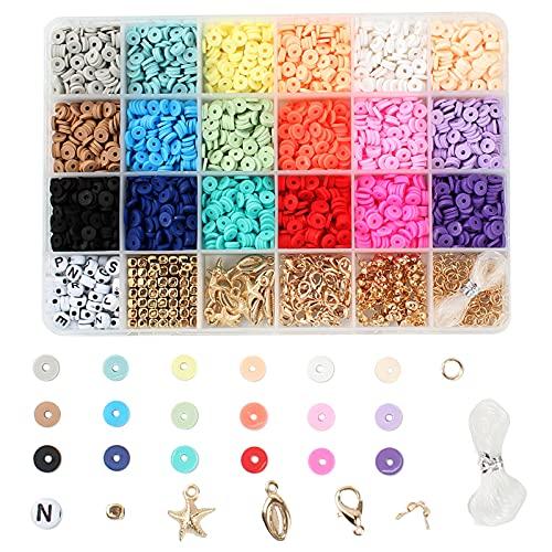ALLOMN - Kit de creación de joyas para manualidades y joyas de arcilla para manualidades o pulsera colorida, collar de actividades manuales para adultos y niños
