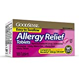 GoodSense Allergy Relief Diphenhydramine HCl 25 mg, Antihistamine Tablets for Symptoms Due to Hay Fever and Upper Respiratory Allergies, 100 Count