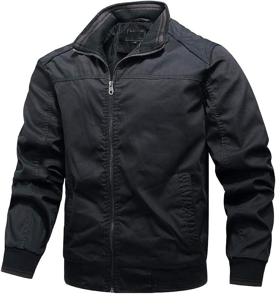 Tebreux Men's Cotton Bomber Jacket Casual Windbreak Outwear Stand Collar Zipper Coat