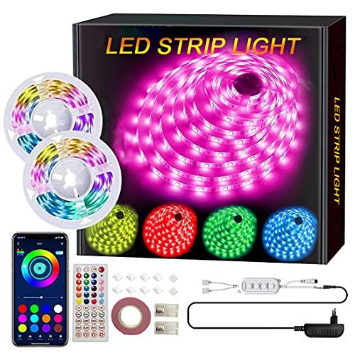 COTOP Bluetooth LED de tira, 12V Cintas de color RGB LED 10 metros 5050 SMD con control remoto, tira de luces de rollo para vacaciones en interiores, navidad, iluminación decorativa 2 * 5m