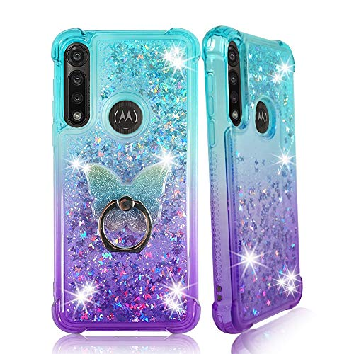 Zase Moto G Fast (2020) Clear Case Liquid Glitter Sparkle Bling for Verizon Boost Motorola G Fast Protective Cute Cover Girly 3D Floating Butterflies Shockproof w/Phone Ring (Gradient Aqua Purple)