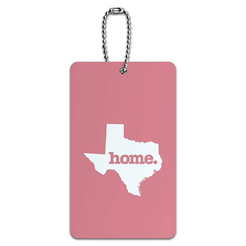 Texas TX Home State ID Tag Luggage Card Suitcase Carry-On - Solid Salmon Pink