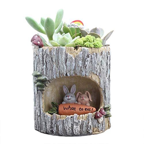 COMVIP Petit Pot de Plantes Forme Pieu Créatif Résine Ornement Jardin Bureau 10.5x10.5x13cm Lapin