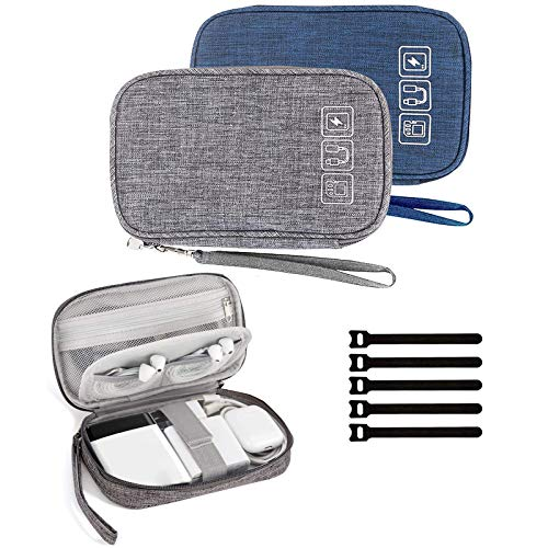 Cable Organizer Bag, 2PCS Travel Cord Organizer Pouch Small Electronics Accessories Bag Tech Cord Storage Pouch for Cable, Charger, Phone, USB, SD Card,with 5pcs Cable Ties (Grey+Blue)