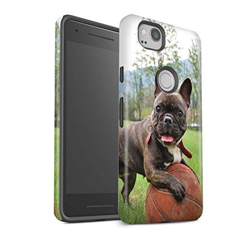 Matte Phone Case for Google Pixel 2 Popular Dog/Canine Breeds French Bulldog Design Matt Tough Shock Proof Bumper Cover