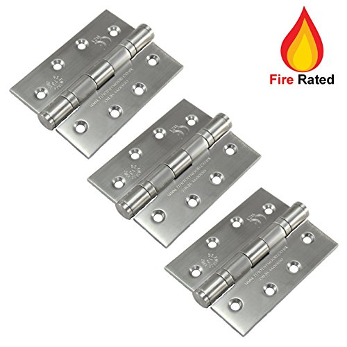 3 Pack of Grade 13 Fire Rated Ball Bearing Door Butt Hinges 4' 102mm - Stainless Steel