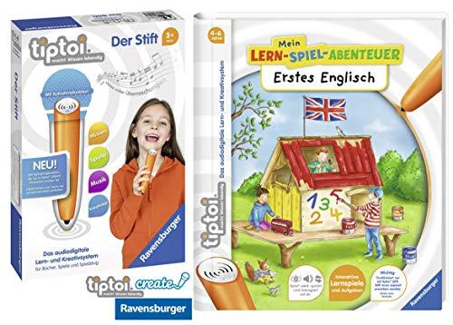 tiptoi® Erstes Englisch Lern-Spiel-Abenteuer Spiralbindung + Ravensburger 008018 Stift - neu mit Aufnahmefunktion