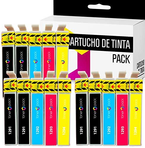 15 TONERPACK T1291 T1292 T1293 T1294 Cartuchos de Tinta Compatible para Stylus 42WD, SX 230, SX 235, SX 235W, SX 420W, SX 425W, SX 430W (Pack 15)
