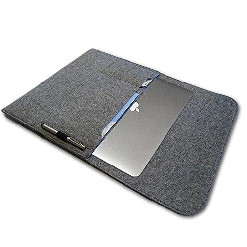 NAUC Notebook Sleeve Hülle TrekStor SurfTab Duo W3 Hülle Ultrabook Cover Tasche Filz, Farben:Hell Grau