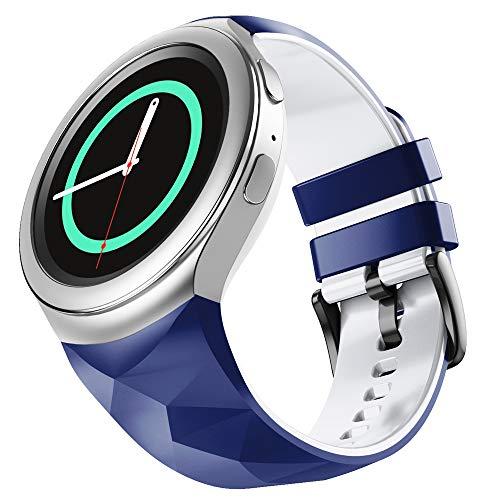 WIIKAI Correa de repuesto para reloj, compatible con Samsung Gear S2, correa de reloj (azul oscuro)