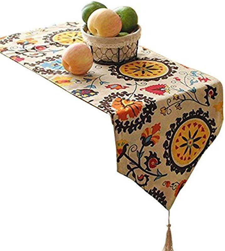 Aothpher Modern Boho Floral Pattern Table Runner With Tassel For Thanksgiving Party Christmas Decoration 12x108 Inches