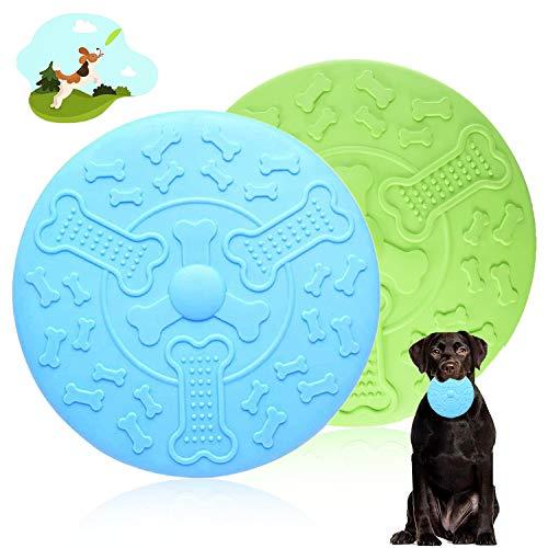 WELLXUNK Frisbees para Perros, 2 Pcs Disco para Perros, Disco Volador para Mascotas, Frisbee de Goma para Perros, Interactivos Frisbee para Perros, para Adiestramiento, Captura y Juego (18.5 CM)