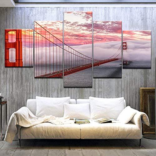 5-delige set van Golden Gate Bridge kunst print poster fotolijst abstract schilderij schilderij op de muur kunstenaar woonplaats decoratie,100x55cm Eén maat 40x60cmx2 40x80cmx2 40x100cmx1