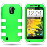 CoverON Hybrid Silicone & Hard Plastic Dual Layer Case for ZTE Source/Majesty - with Cover Removal Pry Tool - Neon Green Hard White Silicone