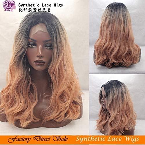 Ombre Rosa Perruques Cheveux Synthétiques Perruque Avant de Lacet Rosa Bonnets