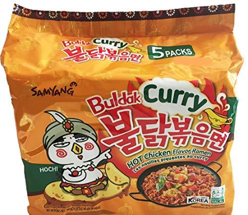 Samyang Feuer Hot Curry aromatisiert Huhn Ramen-Nudeln Packung mit 5 Stück, Koreanisch Ramen-Nudeln Curry x 5 Stück Regelmäßige Bag Gold