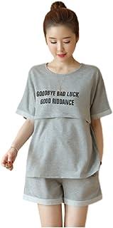 ミウォルナ マタニティ 授乳服 パジャマ ルームウェア セットアップ スウェット 授乳口 前開き 半袖 ショートパンツ 半パン グレー XL