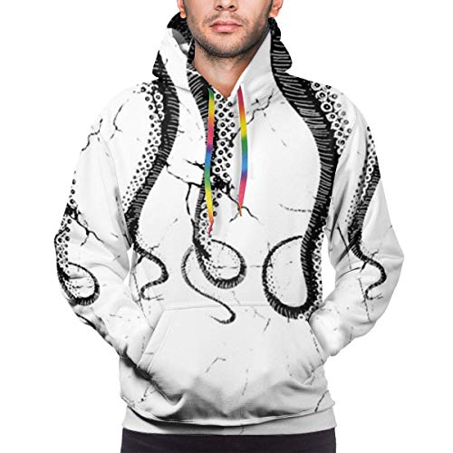 Men's Hoodie Octopus Tentacles Print Sweate Sweatshirt Men's Casual Hoodie Casual Top Hooded,XL
