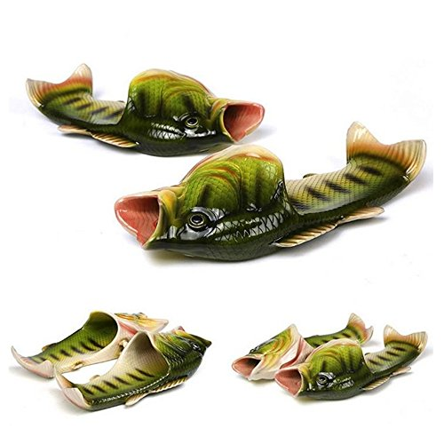 6 Colours Fish Slippers Beach Shoes Non-Slip Sandals Creative Fish Slippers Men and Women Casual Shoe (Green, 8.5-9.5 Women/7-8 Men)