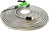 """MTB 304 Stainless Steel Garden Hose 100-ft with Spray Nozzle and 3/4"""" Solid Aluminum Connectors, Metal Water Hose…"""