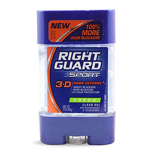Sport 3-D Odor Defense Antiperspirant & Deodorant Clear Gel Fresh by Right Guard for Unisex - 3 oz Deodorant Stick by Right Guard