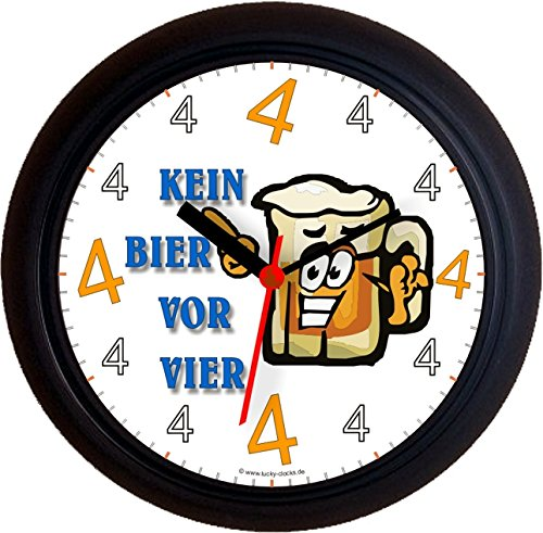 Lucky Clocks BIERUHREN KEIN Bier VOR Vier 4 FACE Geburtstag Wanduhren für jeden Anlass neutral