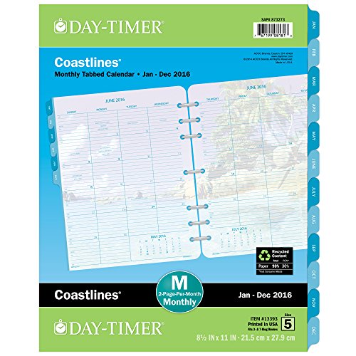 DayTimer Coastlines Monthly Tabbed Planner Refill 2016, 8.5 x 11 Inches Page Size (133931601)