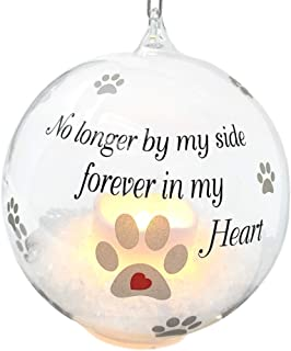 BANBERRY DESIGNS Pet Memorial Christmas Ornament - LED Light Up Glass Ball Xmas Ornament - No Longer by My Side - Loss of a Pet