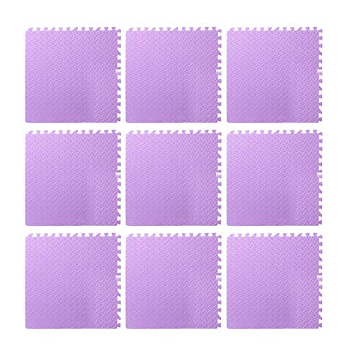 9pcs Foam Floor, Gym Flooring Mat Exercise Mats P uzzle Eva Floor Tiles Foam Exercise Mats, 11.81x11.81x0.47inch, For Play Rooms, Exercise Rooms(Purple)