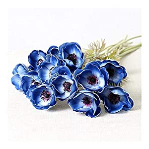 YYJHT Decorative Artificial Flowers Real Touch Artificial Anemone Flowers Silk Flores Artificiales for Wedding Holding Fake Flowers Home Garden Decorative Wreath