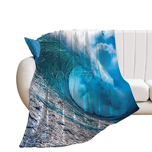 Throw Blanket for Bed Flannel Blankets Stunning Wave Big Waves Surf Surfing Sea Lightweight Ultra Soft for All Season Farmhouse Decorative Blanket for Couch Sofa Travel Birthday Gift 60x80 Inch
