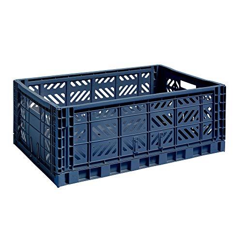 HAY Colour Crate Transportbox, Polypropylen, Dunkelblau, 60 x 40 x 22 cm
