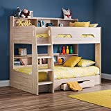 Wooden Bunk Bed with Underbed Storage Drawer, Happy Beds Orion Oak Wood Modern Twin Sleeper - 3ft Single (90 x 190 cm) Frame Only