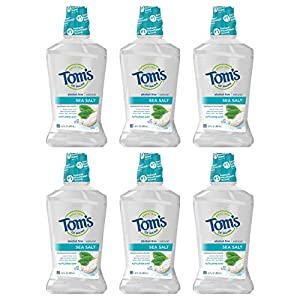 WHAT YOU'LL GET: Six 16-ounce bottles of Tom's of Maine Sea Salt Natural Mouthwash in Refreshing Mint Flavor PURIFIED SEA SALT: Made with sea salt to leave a fresh, clean feeling with a minty finish FRESHEN BREATH: Help reach areas your toothbrush mi...