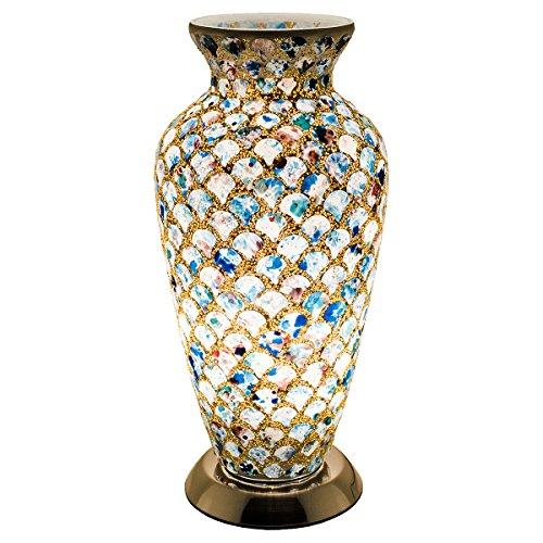 FEBLAND Medium Mosaik Glas Vase Lampe, 25W, blau Tile
