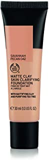 The Body Shop Matte Clay Skin Clearing Foundation, Savannah Pecan Shade 042, 1 Fluid Ounce