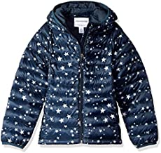 Amazon Essentials Girl's Lightweight Water-Resistant Packable Hooded Puffer Jacket, Navy Star, Medium