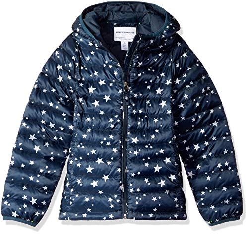 Amazon Essentials Girl's Lightweight Water-Resistant Packable Hooded Puffer Jacket, Navy Star, Small
